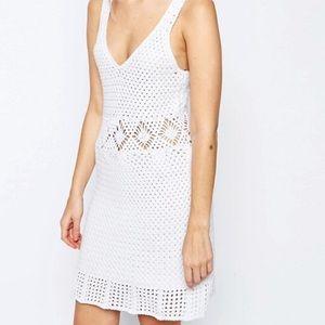 ASOS white hand crochet skater dress
